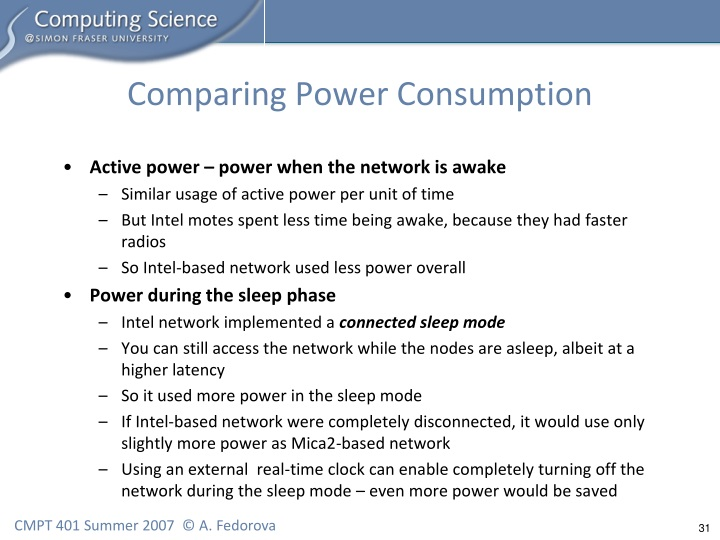 Comparing Power Consumption