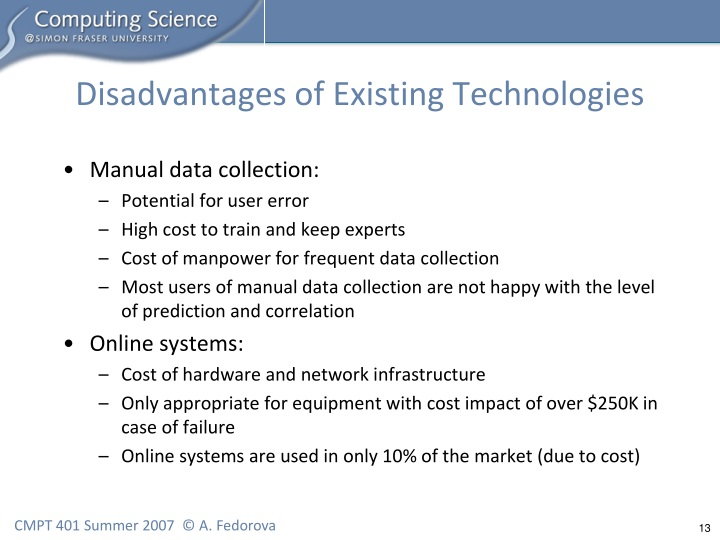 Disadvantages of Existing Technologies