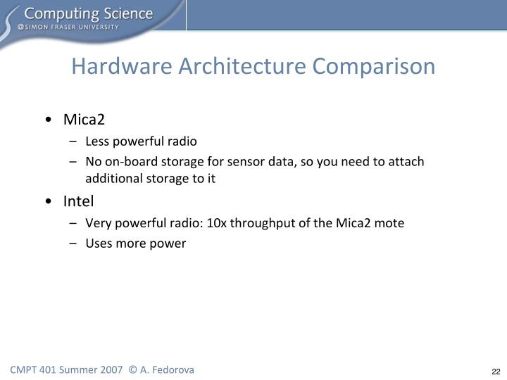 Hardware Architecture Comparison