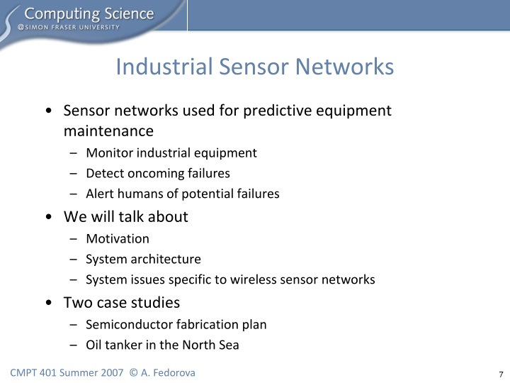 Industrial Sensor Networks