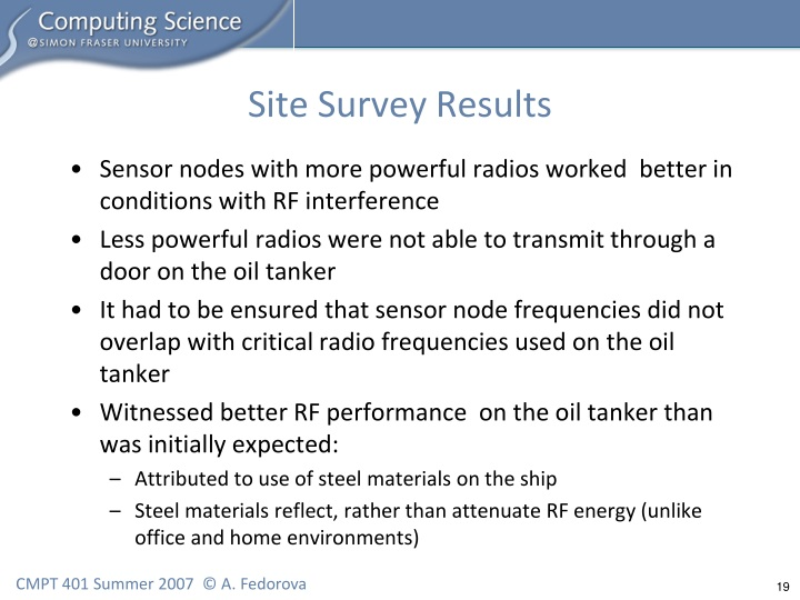 Site Survey Results