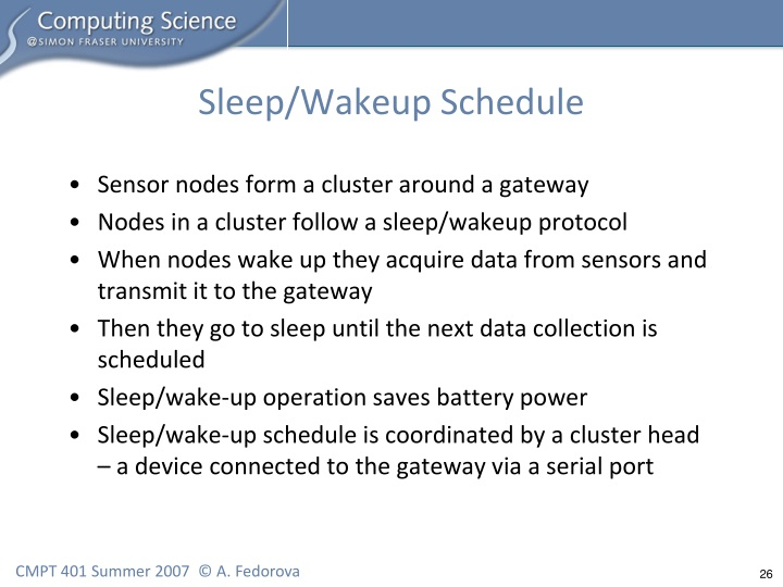 Sleep/Wakeup Schedule