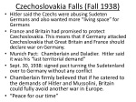 czechoslovakia falls fall 1938