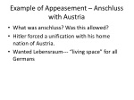 example of appeasement anschluss with austria
