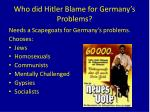 who did hitler blame for germany s problems