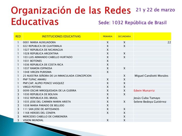 Organización de las Redes Educativas