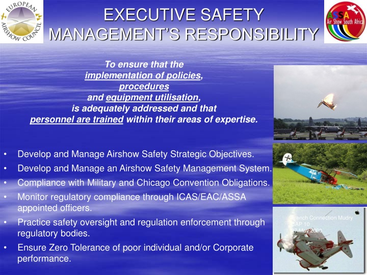 EXECUTIVE SAFETY MANAGEMENT'S RESPONSIBILITY