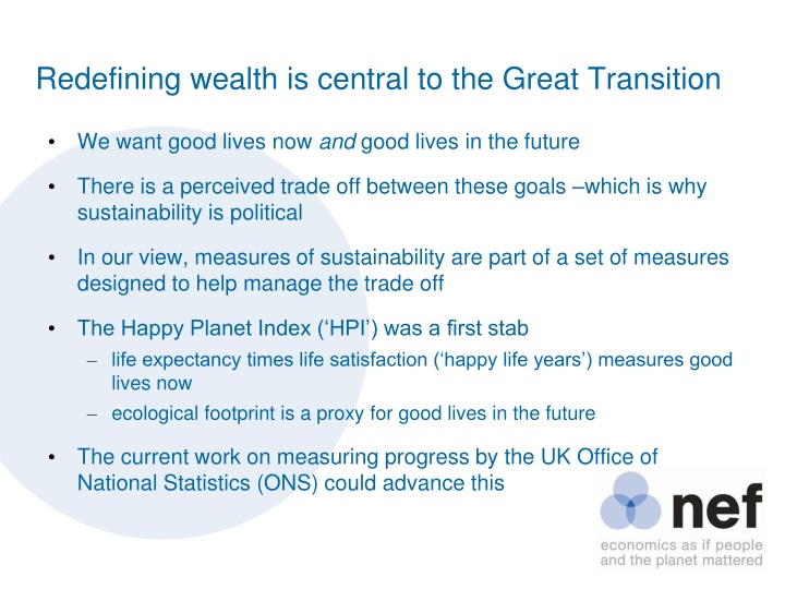 Redefining wealth is central to the Great Transition
