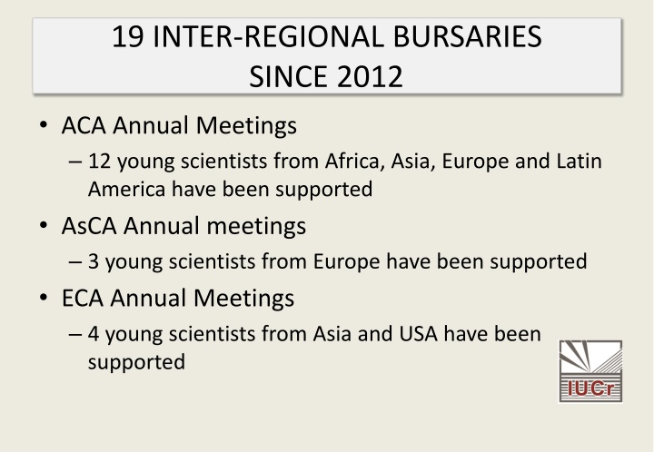 19 INTER-REGIONAL BURSARIES
