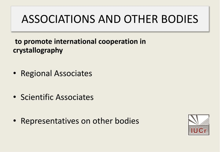 ASSOCIATIONS AND OTHER BODIES