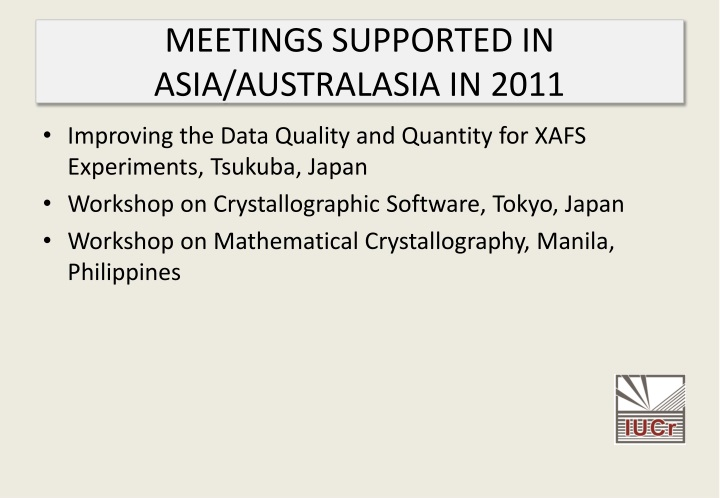 MEETINGS SUPPORTED IN ASIA/AUSTRALASIA IN 2011