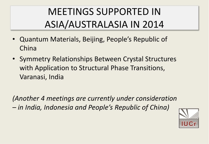 MEETINGS SUPPORTED IN ASIA/AUSTRALASIA IN 2014