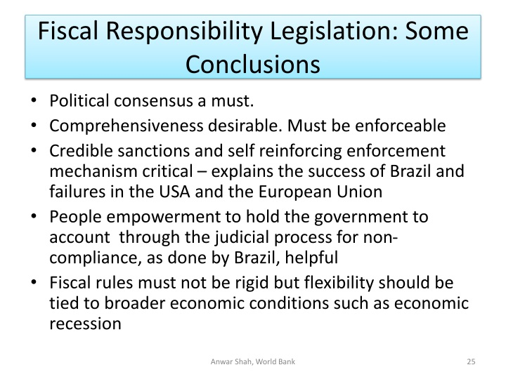 Fiscal Responsibility Legislation: Some Conclusions