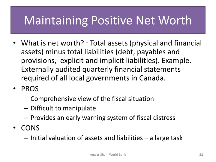 Maintaining Positive Net Worth