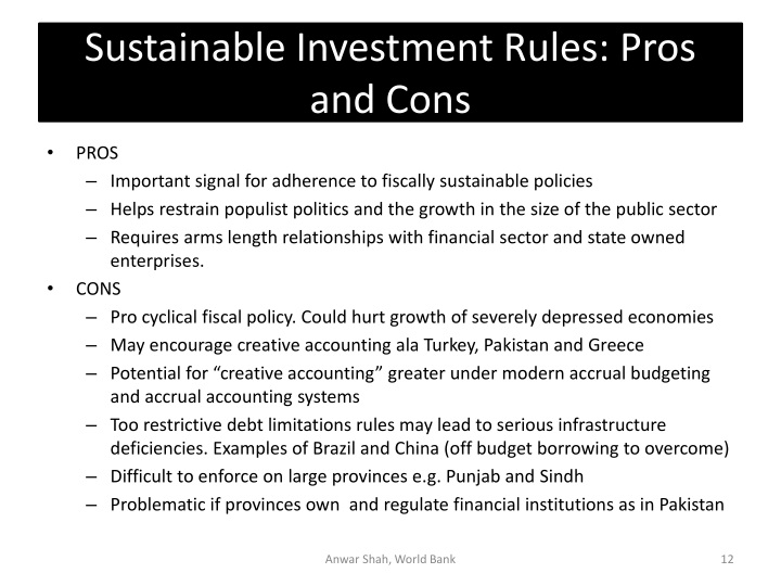 Sustainable Investment Rules: Pros and Cons