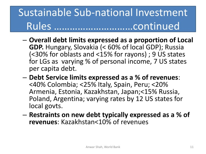 Sustainable Sub-national Investment Rules