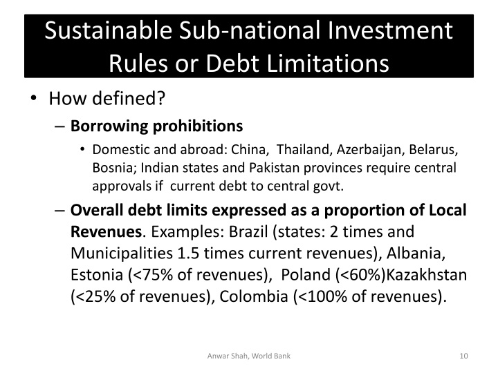 Sustainable Sub-national Investment Rules or Debt Limitations