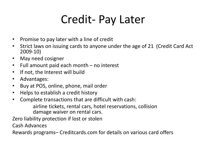 Credit pay later