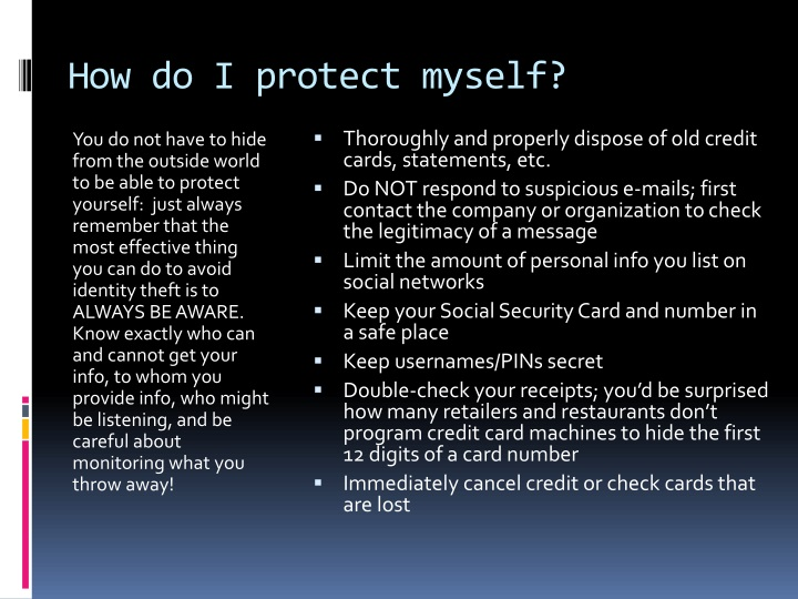 How do I protect myself?
