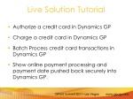 live solution tutorial