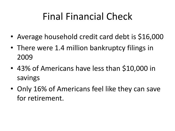 Final Financial Check