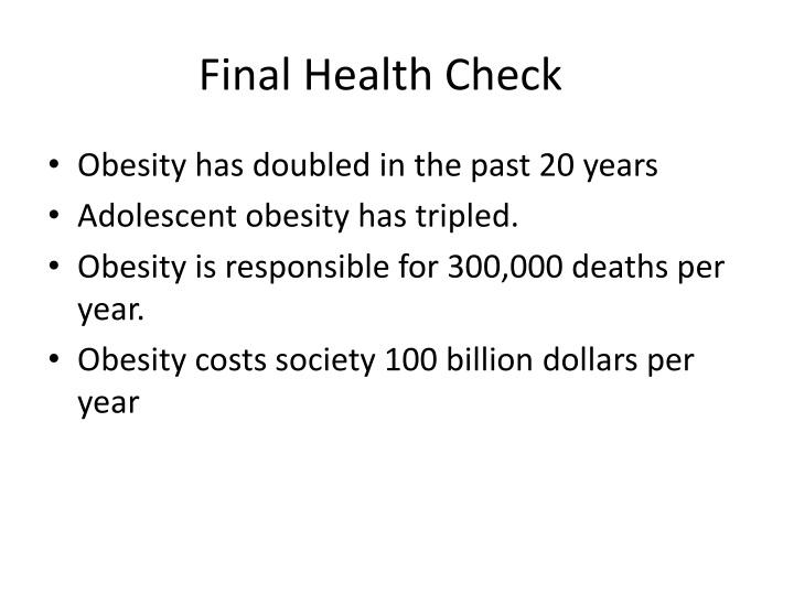 Final Health Check