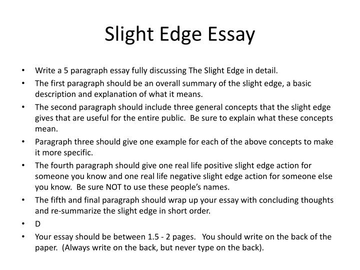 Slight Edge Essay