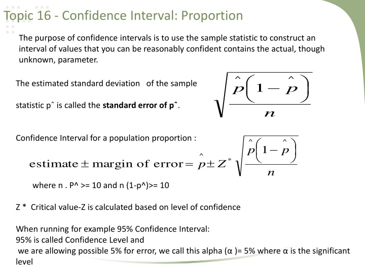 Topic 16 confidence interval proportion