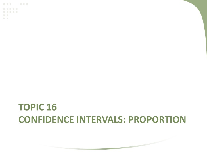 Topic 16 confidence intervals proportion