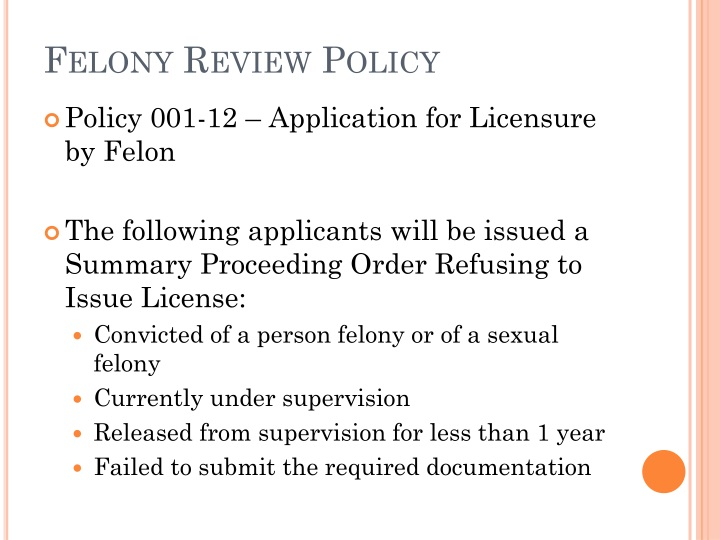Felony Review Policy