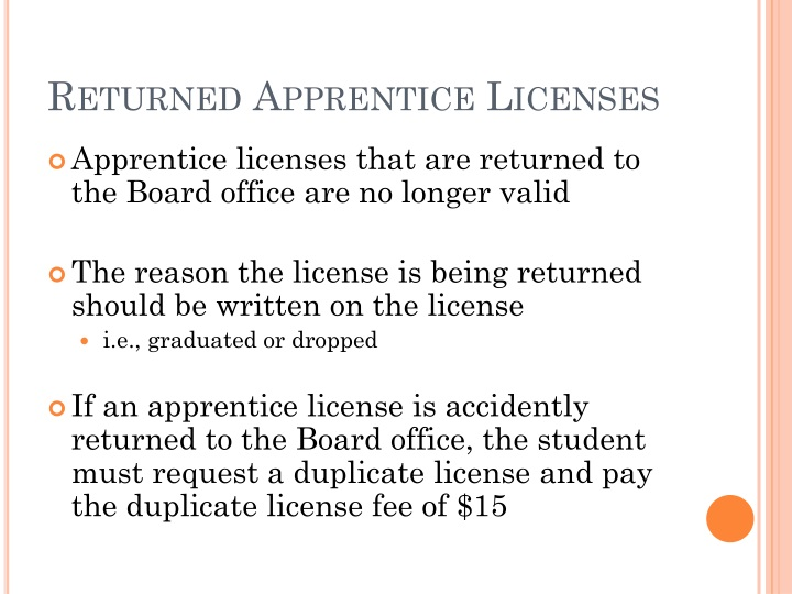 Returned Apprentice Licenses