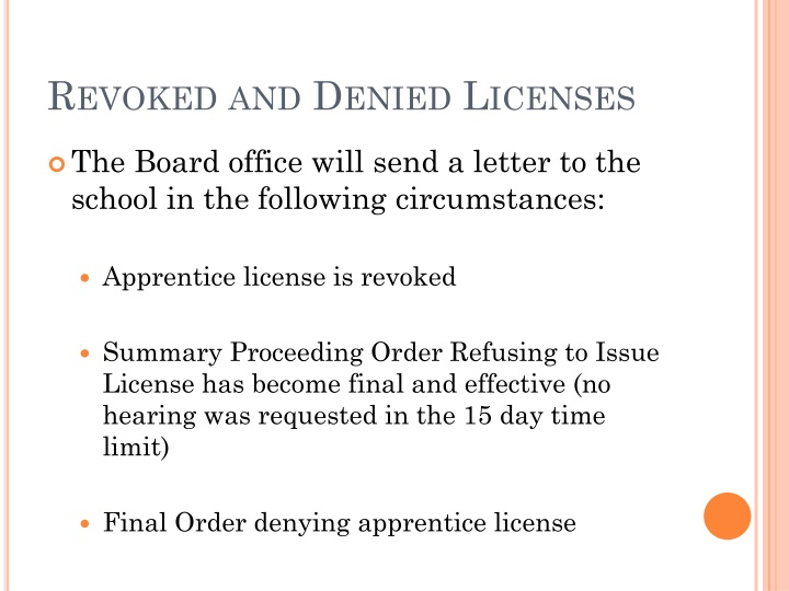 Revoked and Denied Licenses