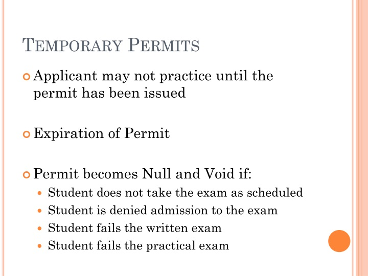 Temporary Permits