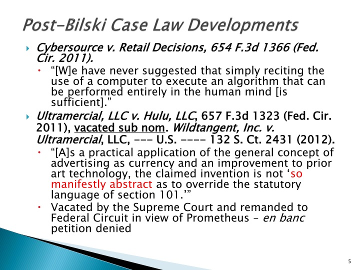 Post-Bilski Case Law Developments