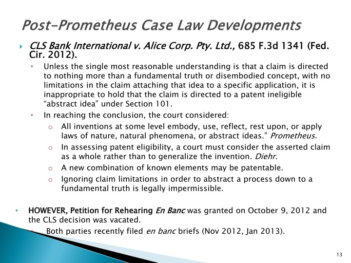 Post-Prometheus Case Law Developments