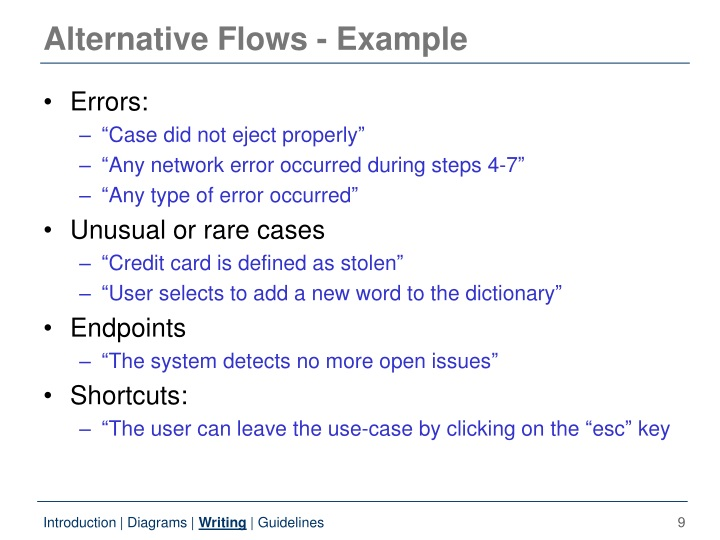 Alternative Flows - Example