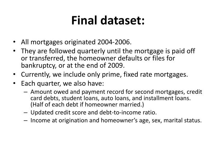 Final dataset: