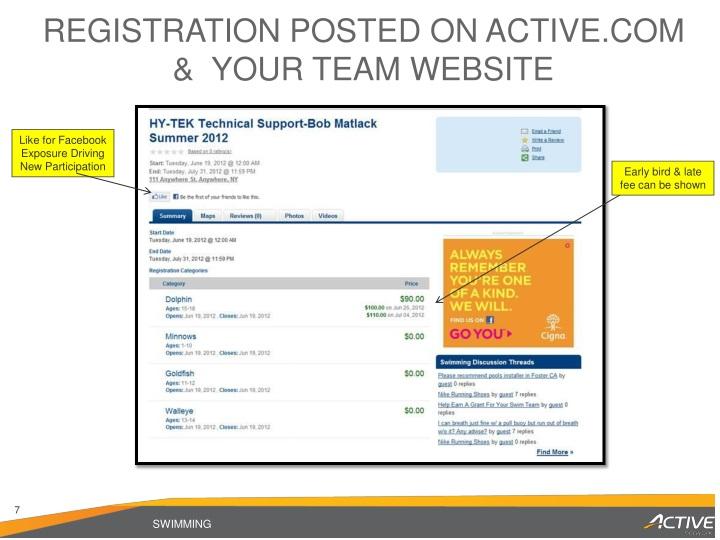 Registration Posted on Active.com &  Your Team Website
