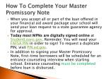 how to complete your master promissory note