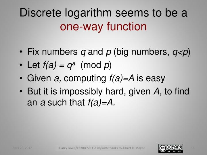 Discrete logarithm seems to be a
