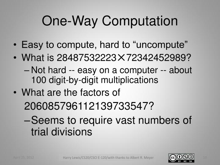 One-Way Computation