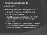 financial assistance to businesses