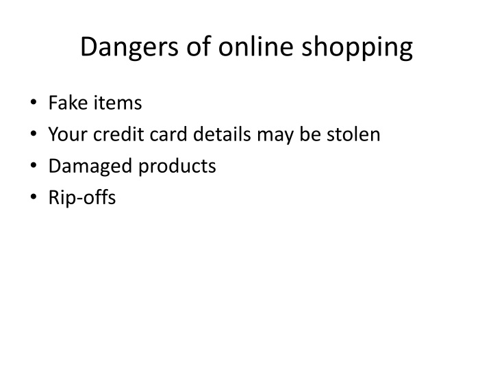 Dangers of online shopping