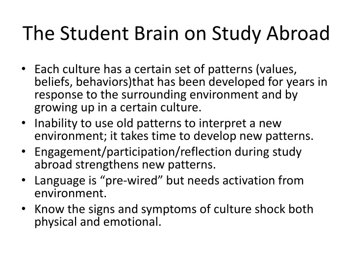 The Student Brain on Study Abroad