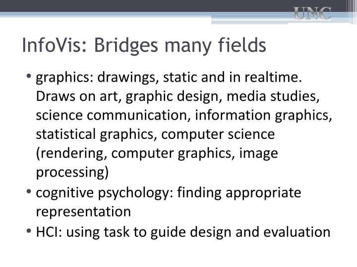 InfoVis: Bridges many fields