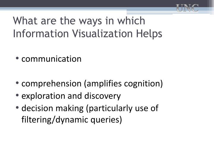 What are the ways in which Information Visualization Helps