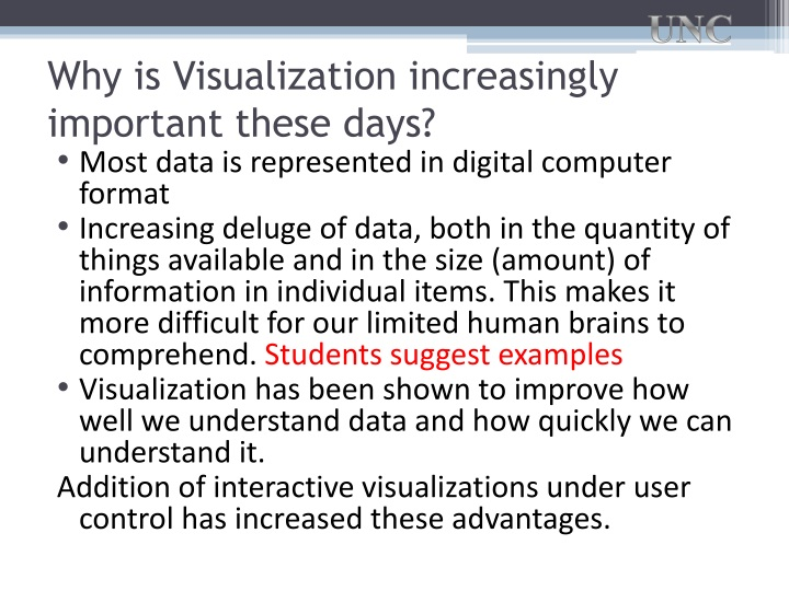 Why is Visualization increasingly important these days?