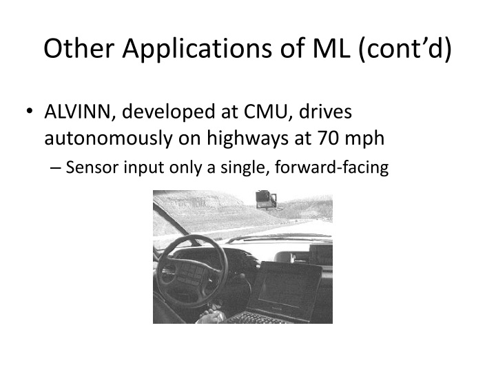 Other Applications of ML (cont'd)