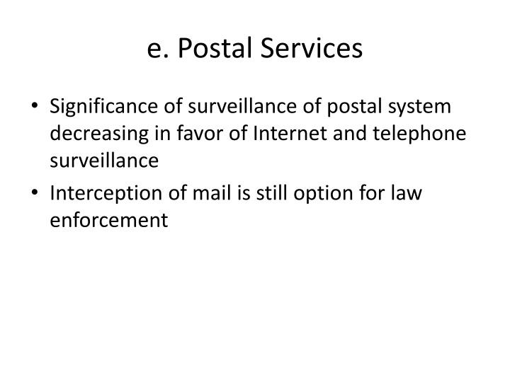 e. Postal Services