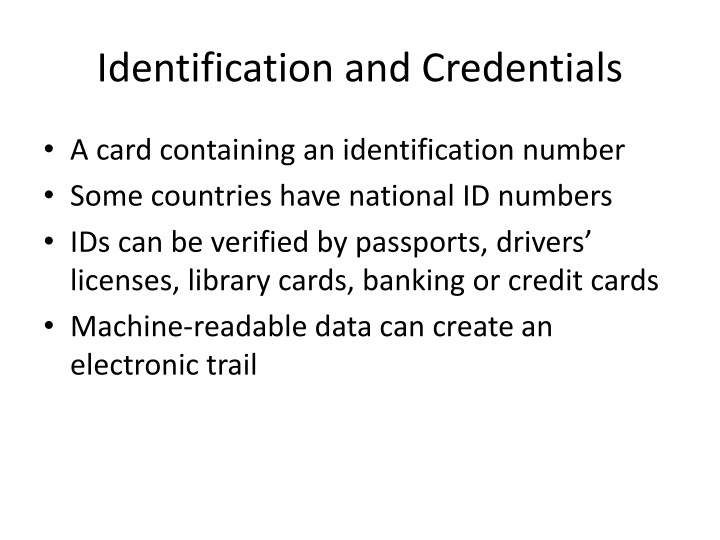 Identification and Credentials